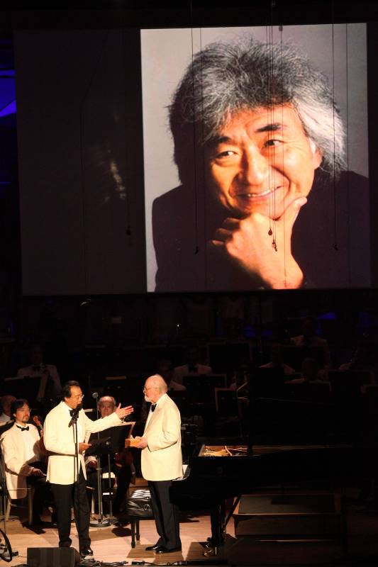 Seiji Ozawa on video recieving inaugural Tanglewood Medal during BSO's 75th Anniversary Gala concert at Tanglewood July 14, 2012.
