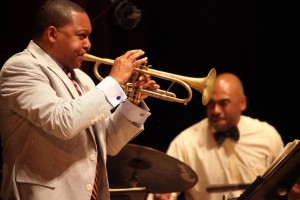 Wynton Marsalis and drummer Ali Jackson, Jr, Ozawa Hall Tanglewood , Aug. 20, 2012; photo:Hilary Scott.