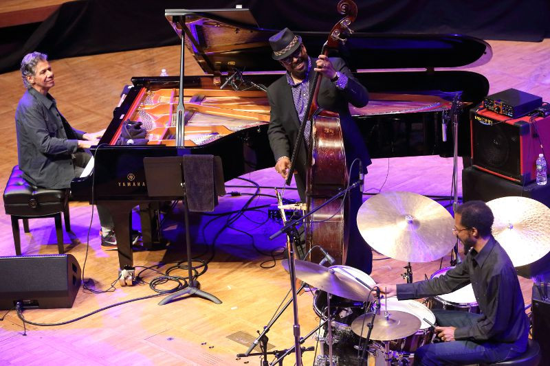 The Chick Corea Trio, with Christian McBride and Brian Blade at Tanglewood July 31, 2016; Hilary Scott photo.