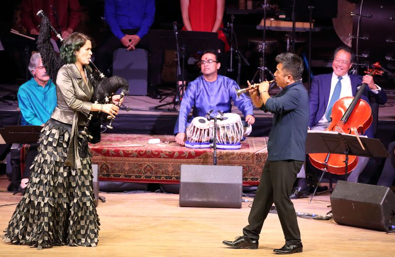 Cristina pato and Wu Tong and The Silk Road Ensemble performed at Tanglewood Aug. 7, 2016; Hilary Scott photo.