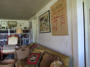 Donald Hall's living room at Eagle Pond Farm, Wilmot, NH; June 2015 photo by Dave Conlin Read.