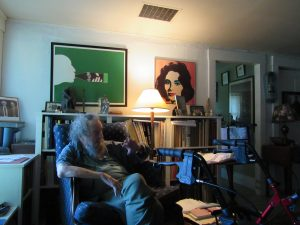 Donald Hall in the blue chair at Eagle Pond Farm, Wilmot, NH; June 2015 photo by Dave Conlin Read.
