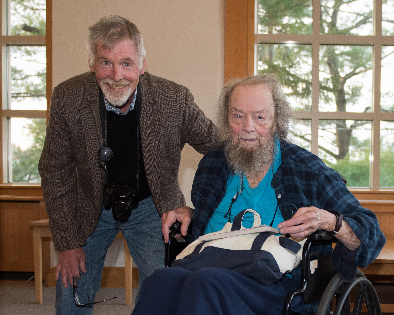 Donald Hall and Dave Read at UNH, Nov. 9, 2017; photo courtesy David J. Murray, ClearEyePhoto.com