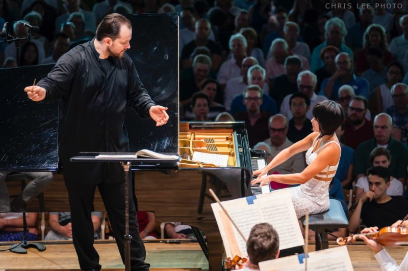 Yuja Wang performs Beethovens Piano Concerto No. 1 with Andris Nelsons leading the BSO at Tanglewood July 15, 2018; Chris Lee photo.