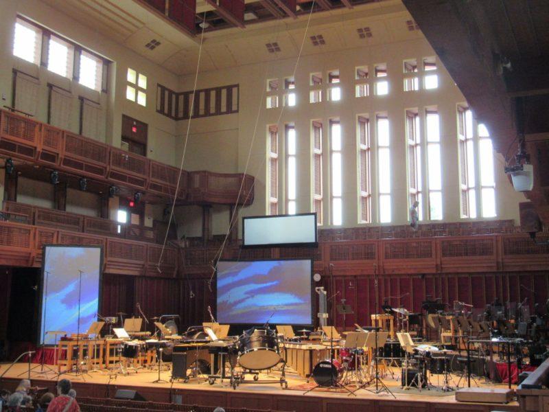 Seiji Ozawa Hall ready for concert by TMC percussion fellows, Tanglewood on Parade, Aug. 7, 2018; BerkshireLinks photo.