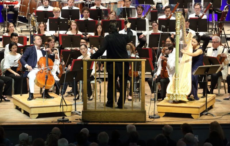Yo-Yo Ma and Jessica Zhou perform John Williams's Highwood's Ghost with Andris Nelsons conducting the TMCO Aug. 19, 2018-photo: Hilary Scott