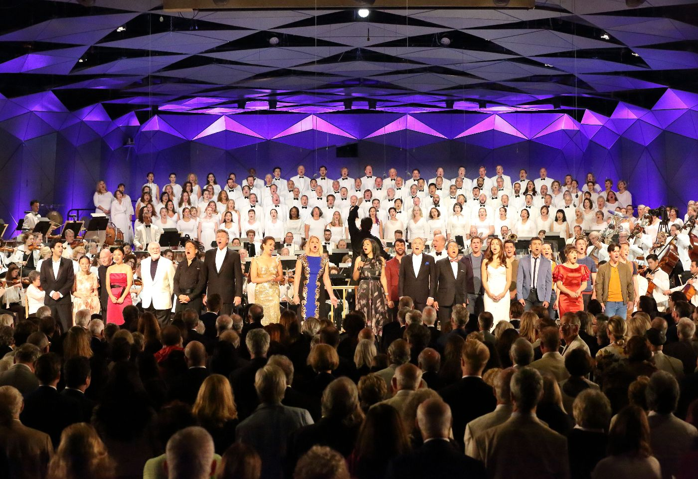 Bernstein Centennial Celebration at Tanglewood ends with full cast singing Somewhere as an encore; Hilary-Scott photo.