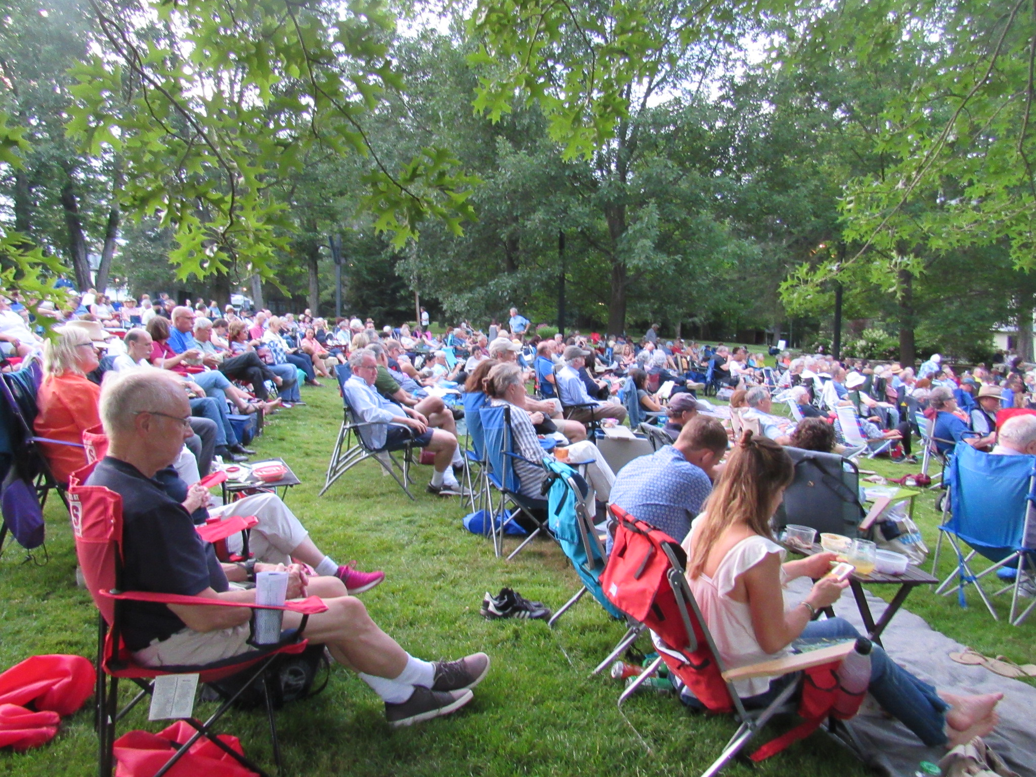 Ozawa Hall environs during Milos classical guitar concert at Tanglewood; Dave Conlin Read photos.