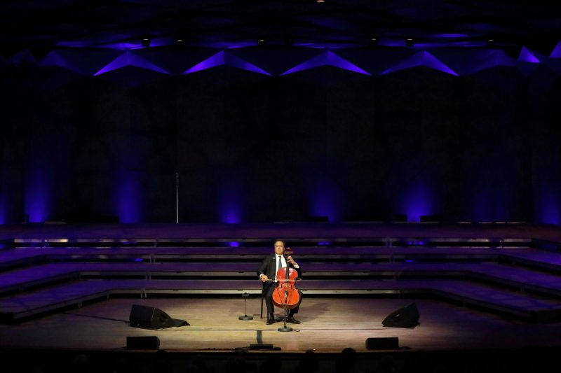 Yo-Yo Ma performs Bach's Six Cello Suites at Tanglewood; Hilary Scott photo.