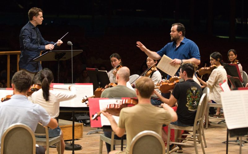 Andris Nelsons leads a TMC Master Class with TMC Conducting Fellow Adam Hickox (Hilary Scott)
